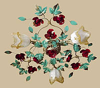 Люстра в стиле флористика с красными розами 04545/3 ОК