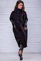 Женское пальто с эко-кожей по 62 размер, фото 1