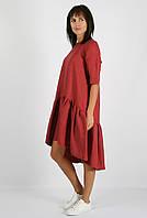 Льняное платье с широким воланом