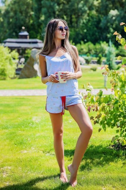 Женская нарядная пижама из хлопка d-720009