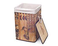 """Корзина для белья бамбуковая квадратная """"Kolibri"""" складная, высота 55см"""