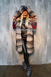 Шикарный жилет из меха чернобурой лисы с капюшоном