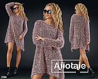 Платье-свитер с асимметрией в стиле casual- пудра