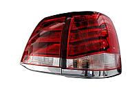 Задние фонари Toyota Land Cruiser 200 в стиле Lexus LX светодиодные красно-белые