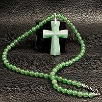 Нефрит, серебро, крестик, 603КЛН