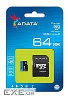 Карта памяти ADATA 64GB microSDXC C10 UHS-I + SD (AUSDX64GUICL10-RA1)