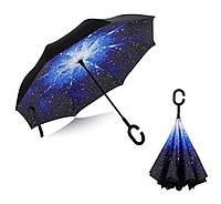"""Зонт (Антизонт) UpBrella, ветрозащитный обратного сложения (умный зонт) """"Звездное небо"""""""