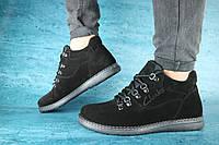 Мужские зимние ботинки Clarks код Y10524 черный замш