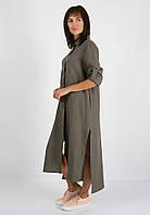 Длинное льняное платье-рубашка , фото 1