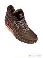 Зимние мужские кожаные кроссовки Reebok черный, фото 1