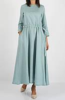Платье из 100% льна светло-бирюзового цвета