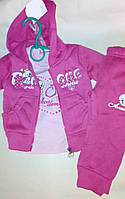 Теплые Спортивные детские костюмы для девочек тройка