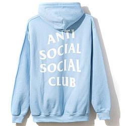 Толстовка голубая Anti Social Social Club | Худи ASSC | Кенгуру АССЦ