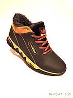 Зимние мужские кожаные кроссовки adidas черно-рыжий новый