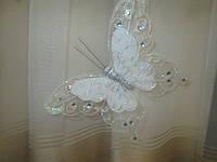 Декоративные бабочки с двойными крыльями 25 см Белые