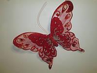 Декоративные бабочки с двойными крыльями 25 см красные