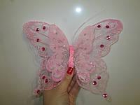 Декоративные бабочки с двойными крыльями 25 см розовые