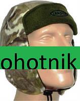 Двойная шапка-ушанка из полар-флиса. Цвет Камуфлированный-Мультикам.