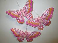 Декоративные перьевые бабочки 9 см розовые