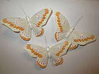 Декоративные перьевые бабочки 9 см бежевые