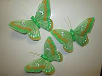 Декоративные перьевые бабочки 9 см зеленые