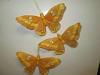 Декоративные перьевые бабочки 9 см коричневые