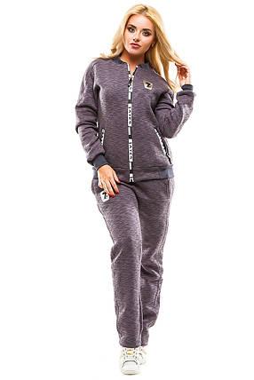 Теплый спортивный костюм 357  серый Слаб размер 44-46, фото 2