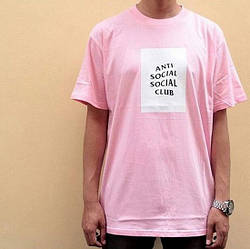Футболка ASSC Pink | Бирки Anti Social Social Club | Мужская розовая