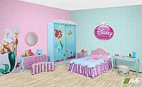 Детская комната Русалочка (9 элементов мебели: шкаф-купе, кровать, стол, тумба, вешалка, комод, пуф, зеркало) ТМ AMF