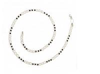 Серебряная цепь 925 пробы арабский бисмарк с черно-белыми фианитами