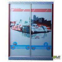 Шкаф-купе Тачки двухдверный. Дизайн Дисней Тачки Сю Тодороки гонки в детскую комнату для мальчика ТМ AMF 150038
