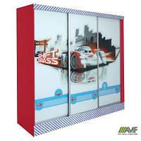 Шкаф-купе Тачки трехдверный. Дизайн Дисней Тачки Сю Тодороки гонки в детскую комнату для мальчика ТМ AMF 149002