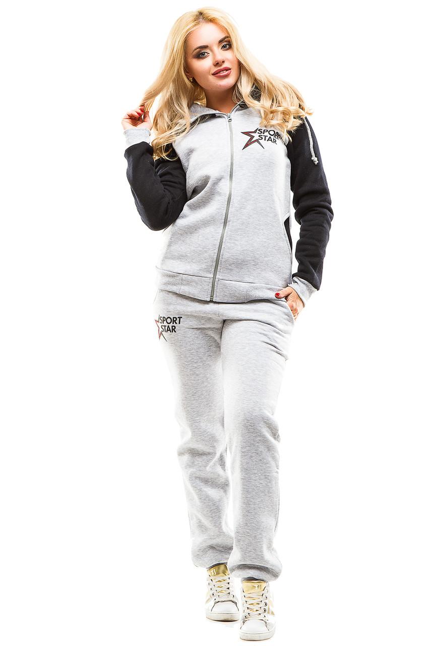Теплый спортивный костюм 368 серый с синим 44-46