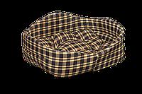 """Лежак (лежанка) для домашних животных Мур-Мяу """"Элегант-1"""" Коричневый в клетку"""