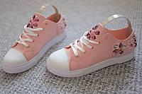 Женские кроссовки Italy Floral Swarowski Pink кожа 36-41