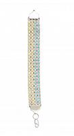 """Серебряный браслет """"Арабский бисмарк"""" с голубо-желтыми фианитами"""
