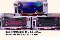Машина металл.батар 605 3 цвета,свет,звук,двери,багажник откр.,в кор.20*9,5*8,5см( Ч )