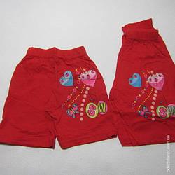 Детские Шорты 1-3 для девочек трикотажные Сердечки 5066