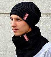 Красивая черная вязаная шапка для мужчин