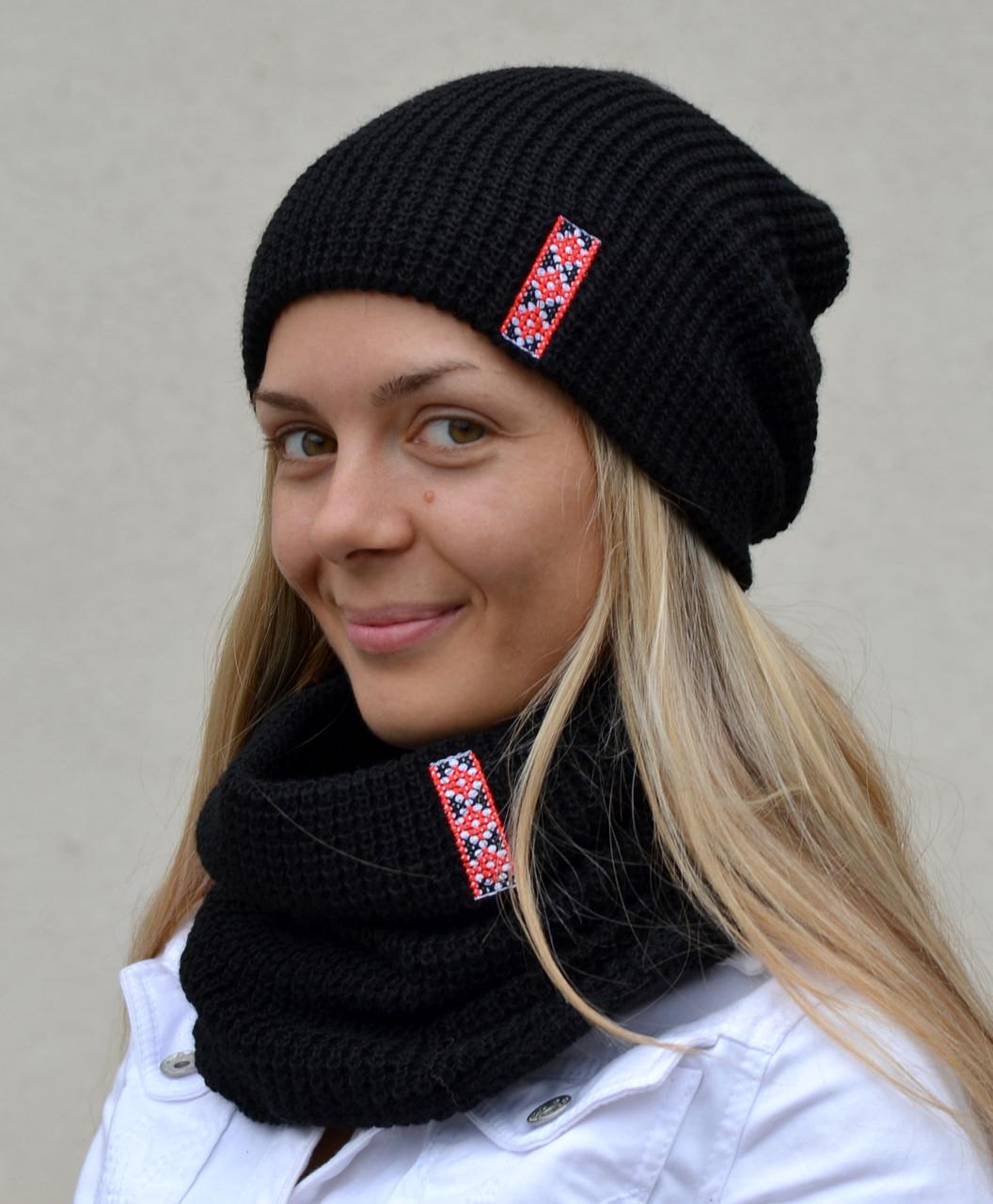 Модная черная вязаная шапка для женщин, фото 1