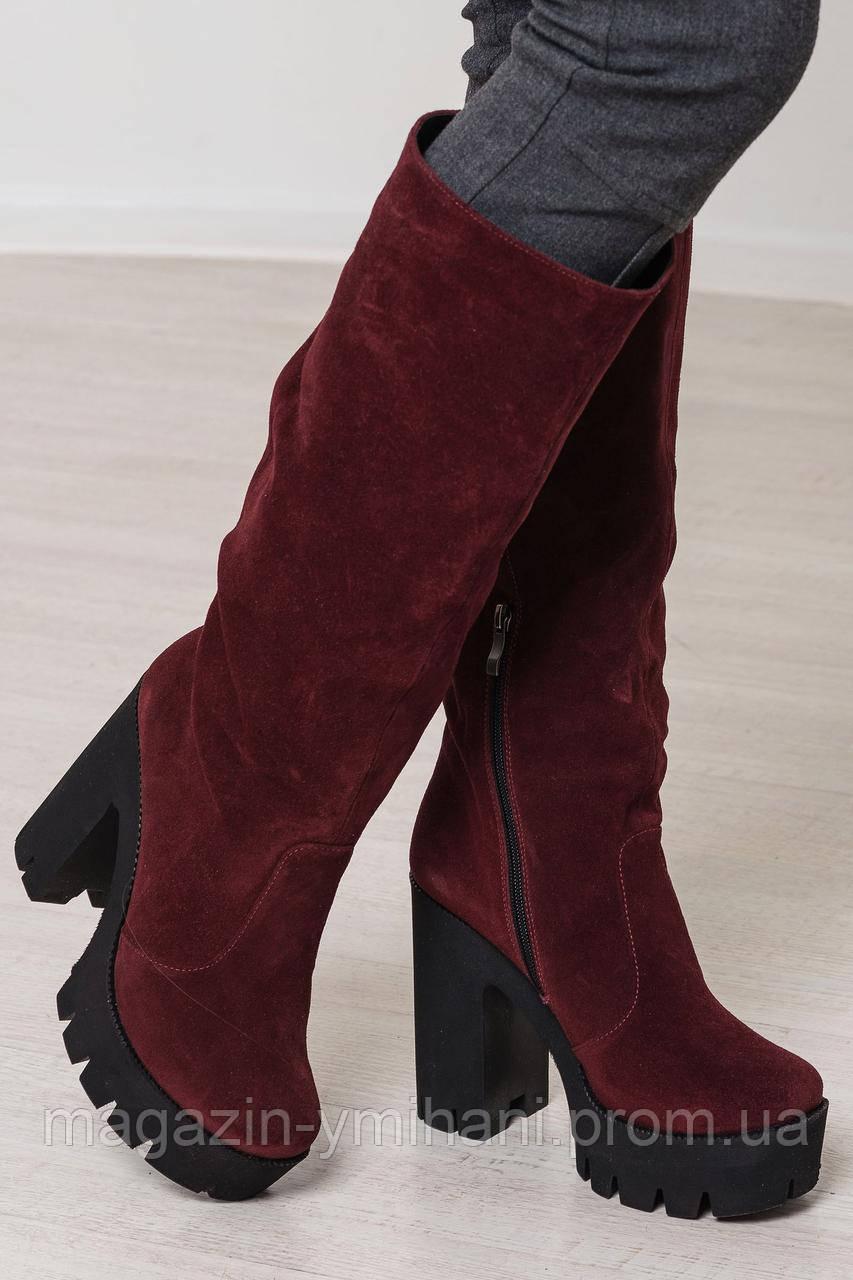 Женские зимние бордовые сапоги на высоком каблуке из натуральной замши. -  Интернет-магазин