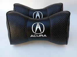 Автомобильная подушка подголовник Acura чёрный цвет перфорация