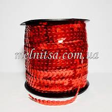 Пайетки на нитке, 6 мм, плоские, цвет красный