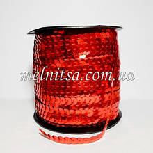 Паєтки на нитці, 6 мм, плоскі, колір червоний