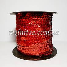 Паєтки на нитці, 6 мм, плоскі, колір червоний, голограма