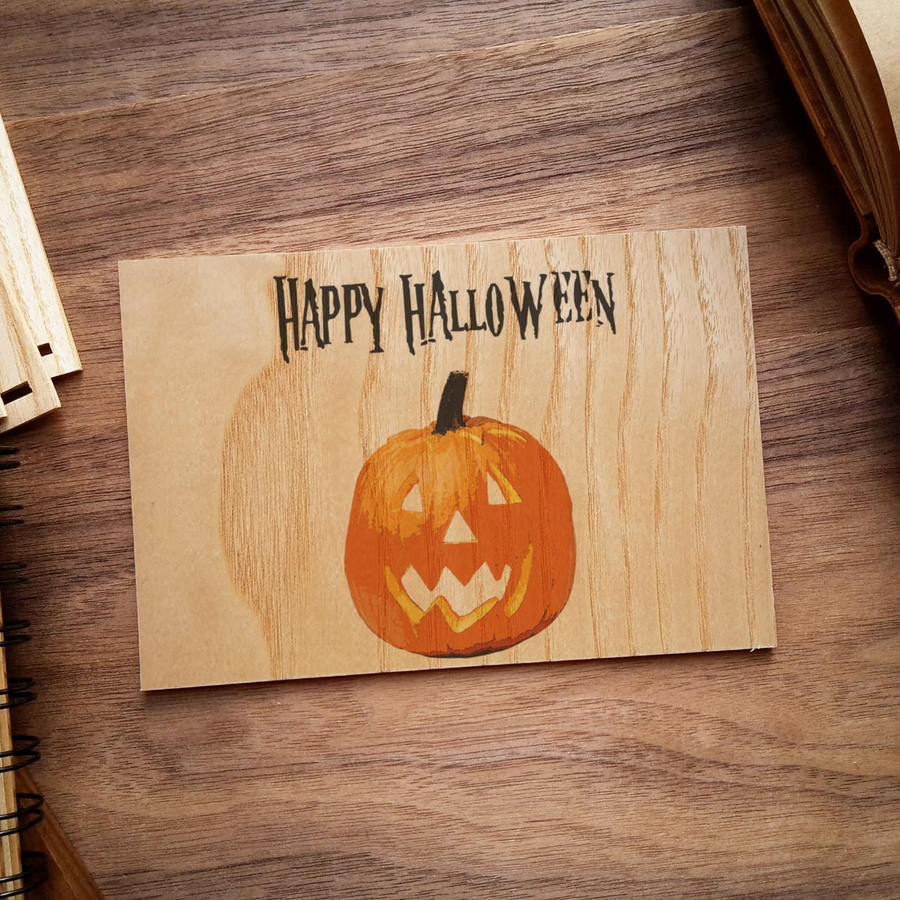 """Деревянная открытка """"Halloween Pumpkin"""", фото 1"""