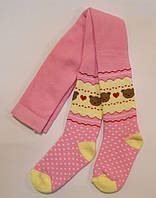 Колготки для малышей с мишками розового цвета махровые