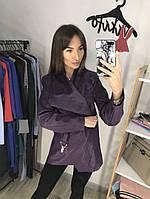 Кожаная женская куртка на замшевой основе 200124