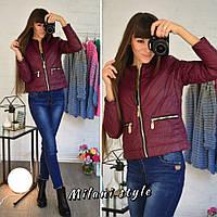 Женская демисезонная куртка на молнии и прорезными карманами 210126