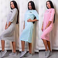 Прямое свободное платье из двухнитки ниже колена длиной 503227